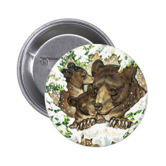 Winter Wildlife Art Black Bear Mother and Cubs Pins