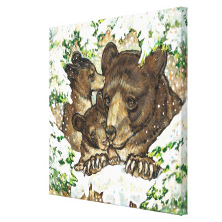 Winter Wildlife Art Black Bear Mother and Cubs Stretched Canvas Prints