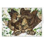 Winter Wildlife Art Black Bear Mother and Cubs Cards