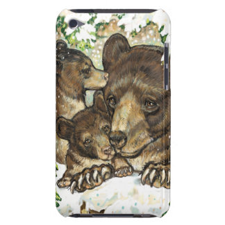 Winter Wildlife Art Black Bear Mother and Cubs iPod Touch Cover