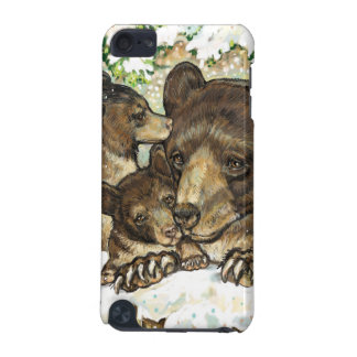 Winter Wildlife Art Black Bear Mother and Cubs iPod Touch 5G Cover