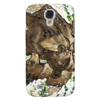 Winter Wildlife Art Black Bear Mother and Cubs Samsung Galaxy S4 Covers