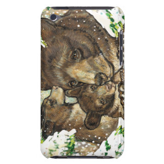 Winter Wildlife Art Black Bear Mother and Cubs Case-Mate iPod Touch Case