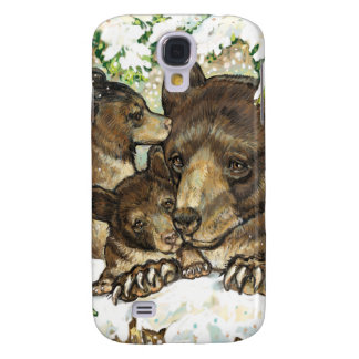 Winter Wildlife Art Black Bear Mother and Cubs Galaxy S4 Cover