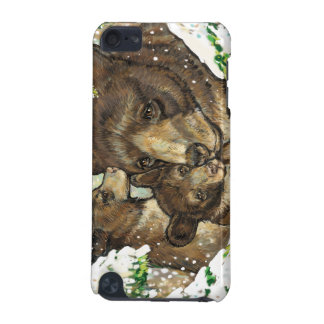 Winter Wildlife Art Black Bear Mother and Cubs iPod Touch 5G Case