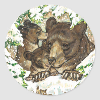 Winter Wildlife Art Black Bear Mother and Cubs Classic Round Sticker