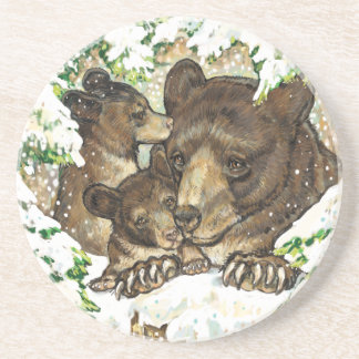 Winter Wildlife Art Black Bear Mother and Cubs Coasters