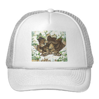 Winter Wildlife Art Black Bear Mother and Cubs Hats