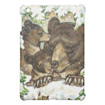 Winter Wildlife Art Black Bear Mother and Cubs Cover For The iPad Mini