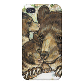 Winter Wildlife Art Black Bear Mother and Cubs Covers For iPhone 4