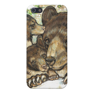 Winter Wildlife Art Black Bear Mother and Cubs iPhone 5 Case