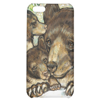 Winter Wildlife Art Black Bear Mother and Cubs iPhone 5C Cases