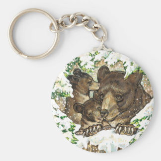 Winter Wildlife Art Black Bear Mother and Cubs Keychain