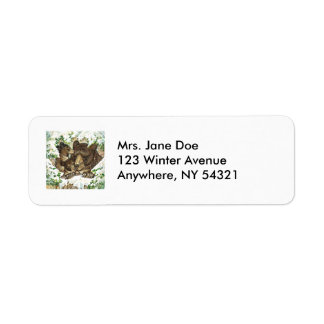 Winter Wildlife Art Black Bear Mother and Cubs Label