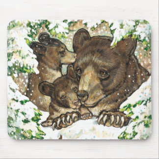 Winter Wildlife Art Black Bear Mother and Cubs Mouse Pad