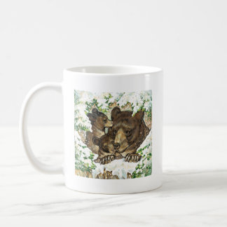 Winter Wildlife Art Black Bear Mother and Cubs Mugs