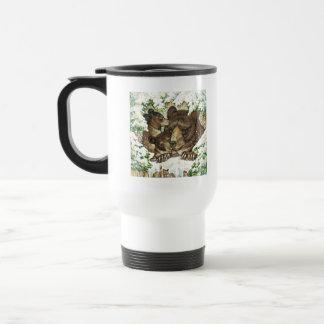 Winter Wildlife Art Black Bear Mother and Cubs Mug