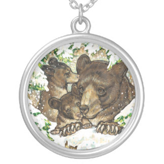 Winter Wildlife Art Black Bear Mother and Cubs Necklaces