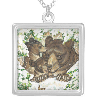 Winter Wildlife Art Black Bear Mother and Cubs Pendant
