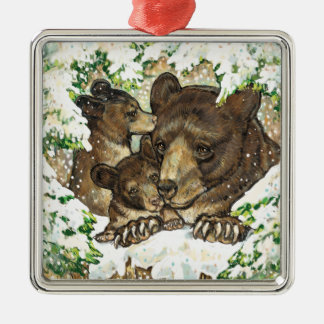 Winter Wildlife Art Black Bear Mother and Cubs Square Metal Christmas Ornament