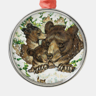 Winter Wildlife Art Black Bear Mother and Cubs Christmas Ornament
