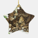 Winter Wildlife Art Black Bear Mother and Cubs Christmas Tree Ornaments