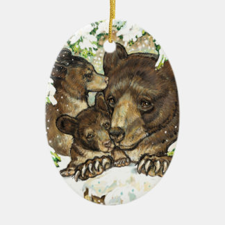 Winter Wildlife Art Black Bear Mother and Cubs Ornaments