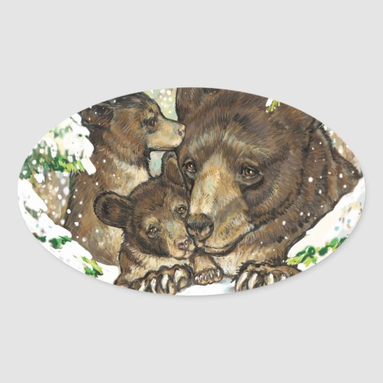 Winter Wildlife Art Black Bear Mother and Cubs Oval Sticker