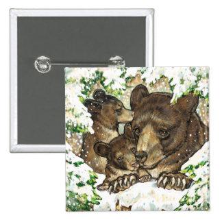 Winter Wildlife Art Black Bear Mother and Cubs Pin