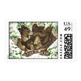 Winter Wildlife Art Black Bear Mother and Cubs Stamp