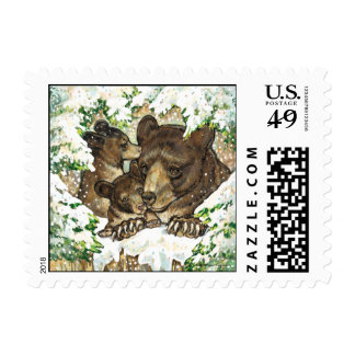Winter Wildlife Art Black Bear Mother and Cubs Postage Stamp