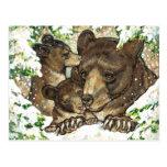 Winter Wildlife Art Black Bear Mother and Cubs Postcards