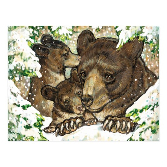 Winter Wildlife Art Black Bear Mother and Cubs Postcard
