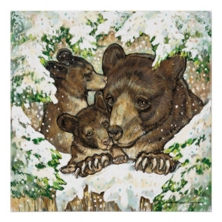Winter Wildlife Art Black Bear Mother and Cubs Print