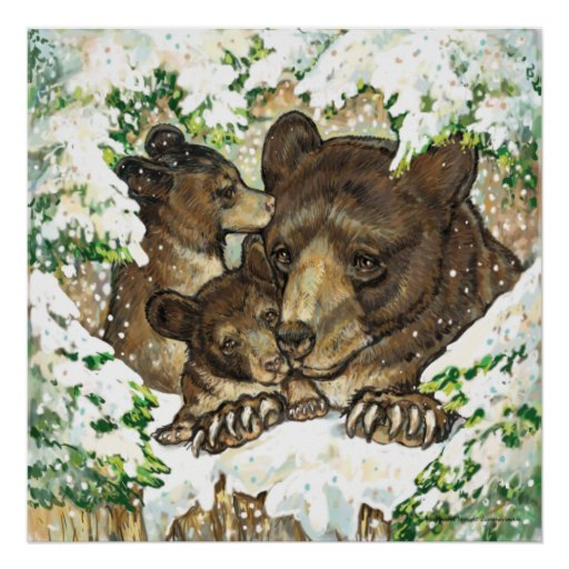 Winter Wildlife Art Black Bear Mother and Cubs Poster