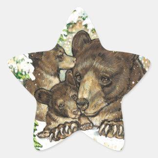 Winter Wildlife Art Black Bear Mother and Cubs Star Sticker