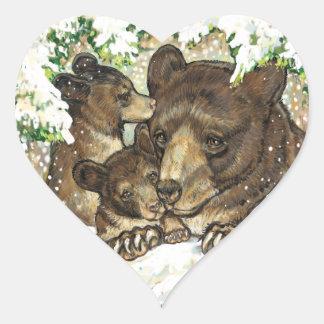 Winter Wildlife Art Black Bear Mother and Cubs Heart Sticker
