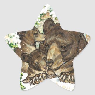 Winter Wildlife Art Black Bear Mother and Cubs Star Stickers