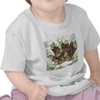 Winter Wildlife Art Black Bear Mother and Cubs Tee Shirt