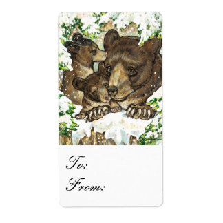 Winter Wildlife Black Bear Mother & Cubs Gift Tags Label