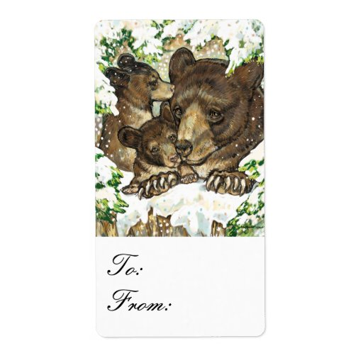 Winter Wildlife Black Bear Mother & Cubs Gift Tags Personalized Shipping Label