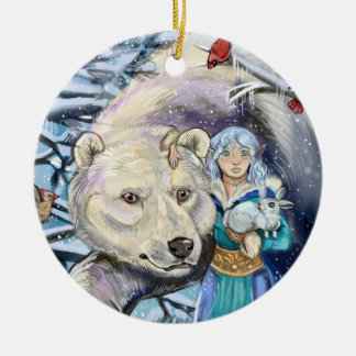 Winter Winds Polar Bear~ round ornament