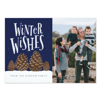 Winter Wishes Holiday Photo Card, Pinecone Family Card
