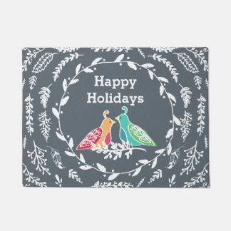 Winter Wishes Rustic Love Birds by Cindy Bendel Doormat