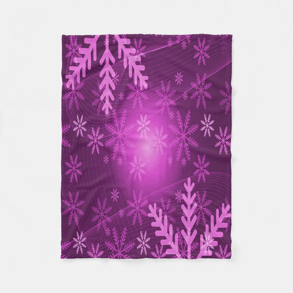 Winter with girly pink and purple snowflakes
