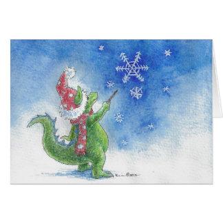 Winter Wizard Dragon Greeting Card
