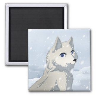 Winter wolf 2 inch square magnet