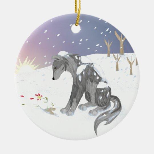 Winter Wolf Ceramic Ornament