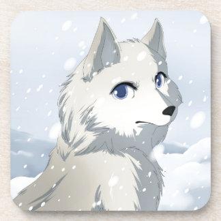 Winter wolf drink coaster