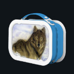 "Winter Wolf Lunch Box<br><div class=""desc"">Here&#180;s looking at you! Get this wolf laying in the snow to stare you down! Original airbrush art. for wolf lovers.</div>"